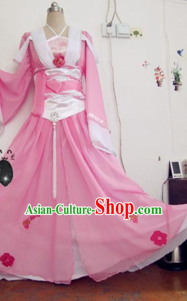 Chinese Traditional Cosplay Apsaras Costume Ancient Peri Princess Pink Hanfu Dress for Women