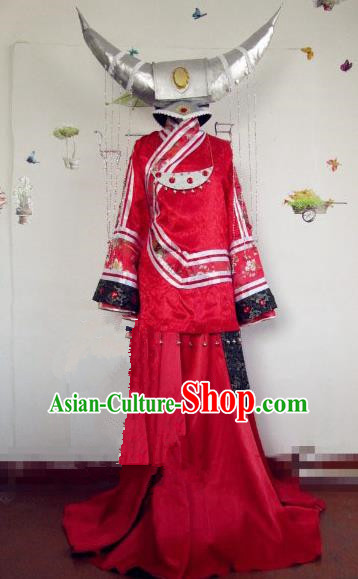Chinese Traditional Miao Nationality Bride Costume Ancient Princess Hanfu Dress for Women