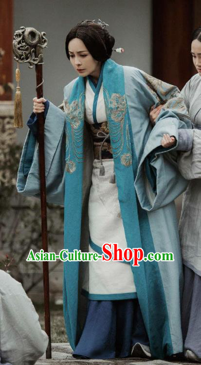 Chinese Drama The Lengend of Haolan Dowager Countess Embroidered Hanfu Dress Ancient Warring States Period Historical Costume for Women