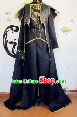 Chinese Traditional Cosplay Nobility Childe Black Costume Ancient Swordsman Hanfu Clothing for Men