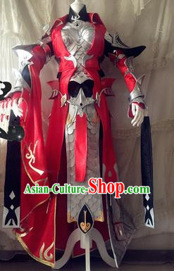 Chinese Traditional Cosplay Body Armour Costume Ancient Swordswoman Female General Hanfu Dress for Women