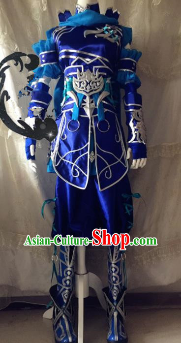 Chinese Traditional Cosplay General Blue Armour Costume Ancient Swordsman Hanfu Clothing for Men