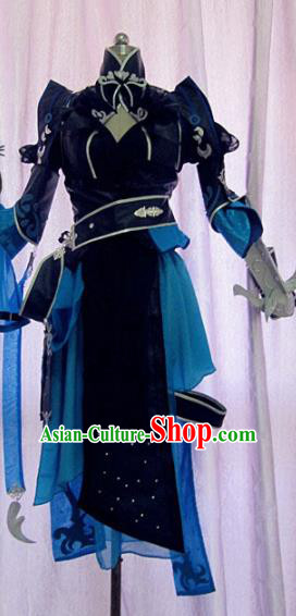 Chinese Traditional Cosplay Swordswoman Costume Ancient Peri Navy Hanfu Dress for Women
