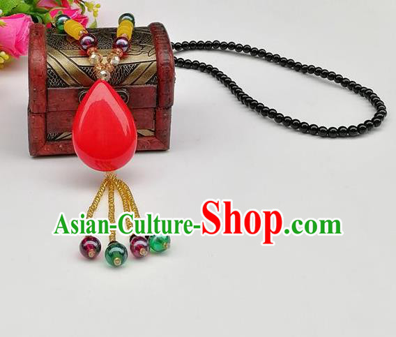 Chinese Traditional Ethnic Jewelry Accessories Red Stone Tassel Necklace for Women