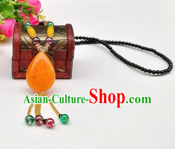 Chinese Traditional Ethnic Jewelry Accessories Yellow Stone Tassel Necklace for Women
