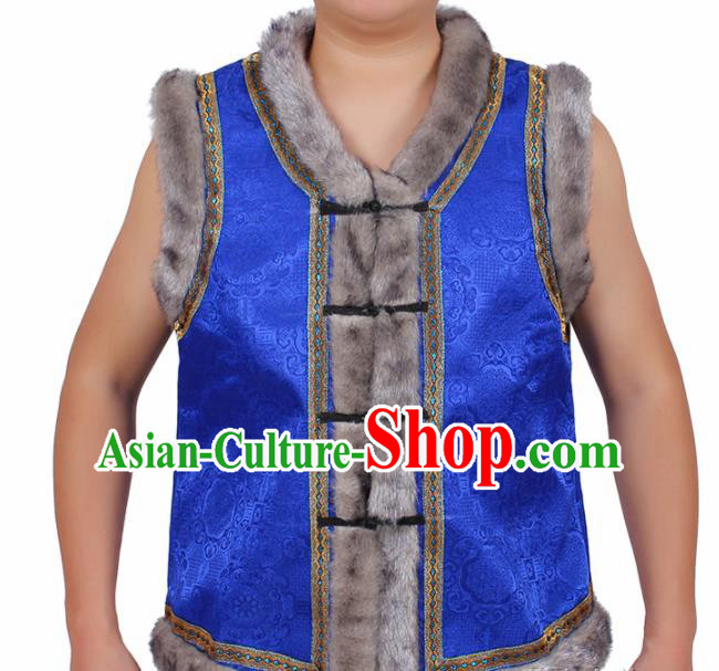 Chinese Traditional Ethnic Costumes Mongol Nationality Royalblue Brocade Waistcoat Vest for Men