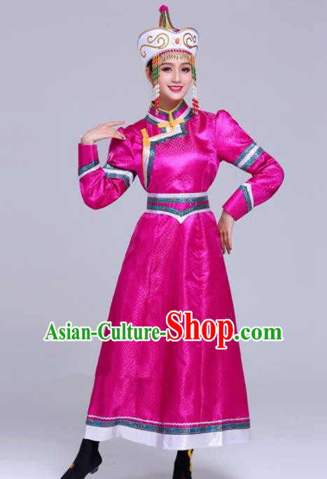 Chinese Traditional Mongolian Ethnic Wedding Costumes Mongol Nationality Princess Rosy Dress for Women