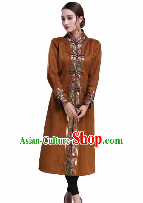 Chinese Traditional Mongolian Outwear Ethnic Costumes Mongol Nationality Brown Dust Coat for Women
