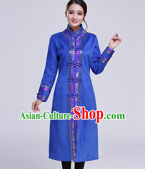 Chinese Traditional Mongolian Outwear Ethnic Costumes Mongol Nationality Royalblue Dust Coat for Women
