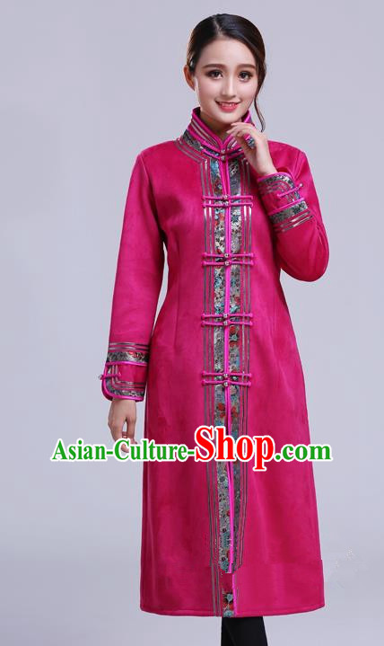 Chinese Traditional Mongolian Outwear Ethnic Costumes Mongol Nationality Rosy Dust Coat for Women