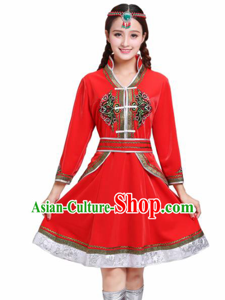Chinese Traditional Mongolian Ethnic Red Short Dress Mongol Nationality Costumes for Women