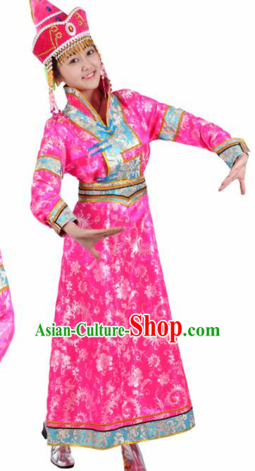 Chinese Traditional Mongolian Ethnic Pink Brocade Dress Mongol Nationality Folk Dance Costumes for Women