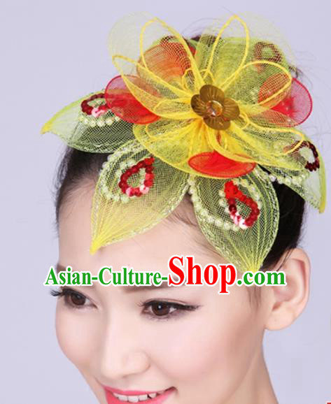 Chinese Traditional Yangko Dance Yellow Veil Hair Claw National Folk Dance Hair Accessories for Women