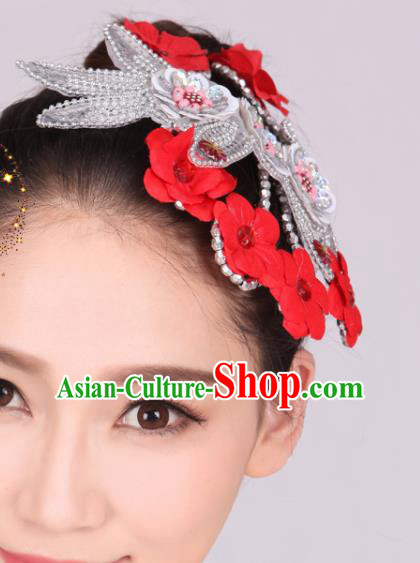 Chinese Traditional Yangko Dance Red Flowers Hair Stick National Folk Dance Hair Accessories for Women