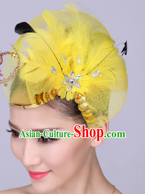 Chinese Traditional Yangko Dance Yellow Feather Bowknot Hair Claw National Folk Dance Hair Accessories for Women