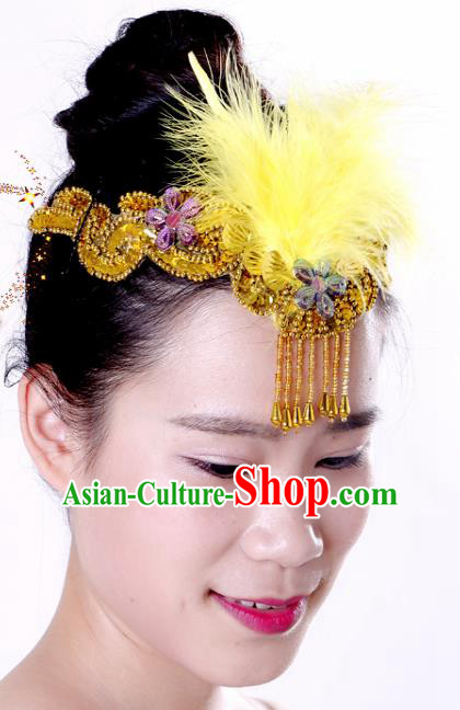 Chinese Traditional Yangko Dance Yellow Feather Tassel Hair Clasp National Folk Dance Hair Accessories for Women