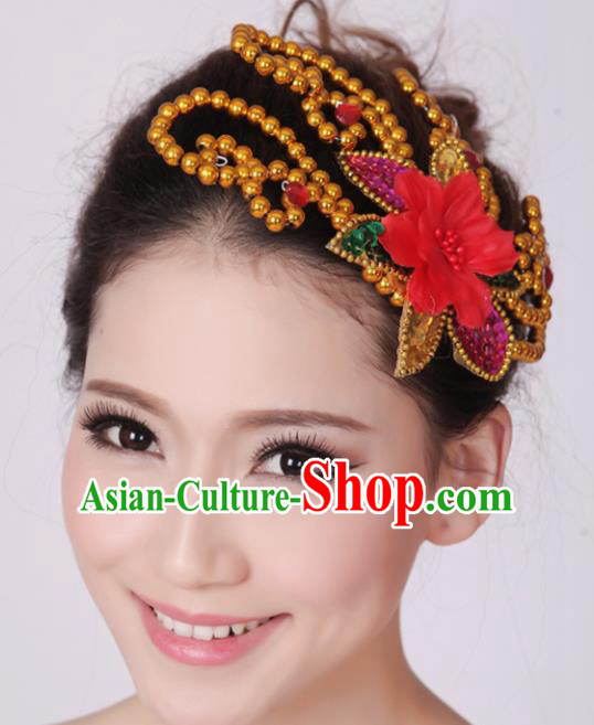 Chinese Traditional Yangko Dance Red Flower Hair Claw National Folk Dance Hair Accessories for Women