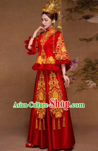 Traditional Chinese Red Wedding Dress Ancient Bride Embroidered Xiu He Costume for Women