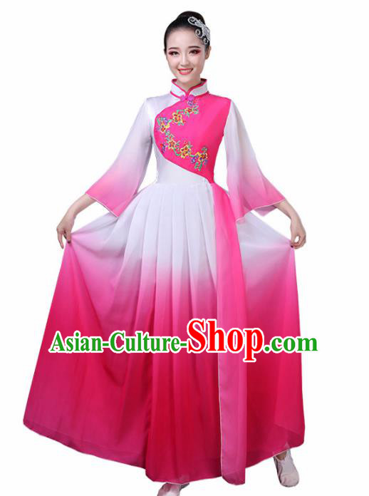 Chinese Traditional Umbrella Dance Rosy Costume Classical Dance Group Dance Dress for Women