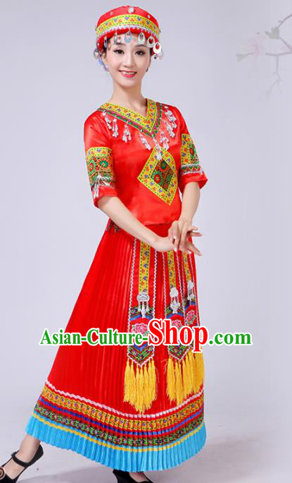 Chinese Traditional Ethnic Folk Dance Costume Yi Nationality Wedding Red Dress for Women