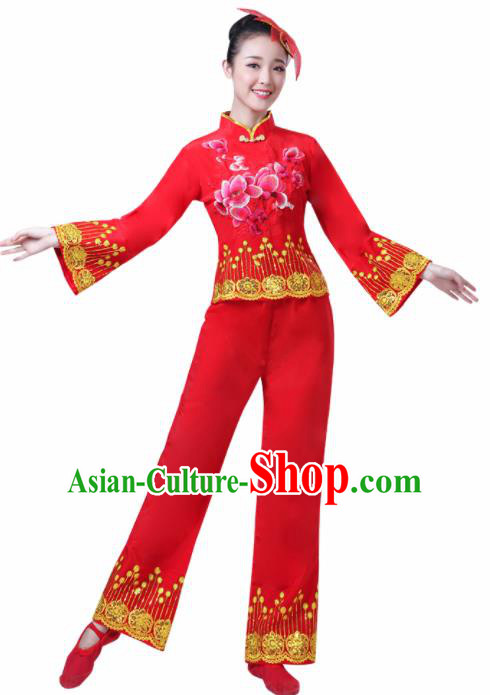 Chinese Traditional Stage Performance Fan Dance Costume Folk Dance Yangko Dance Red Dress for Women