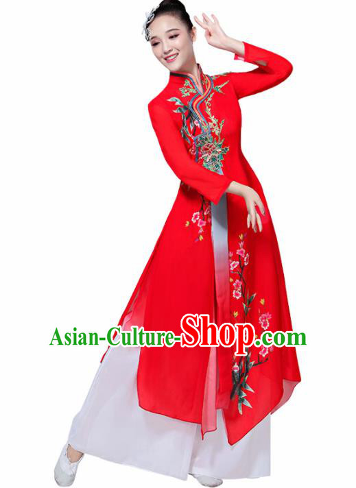 Chinese Traditional Stage Performance Umbrella Dance Costume Classical Dance Group Dance Red Dress for Women