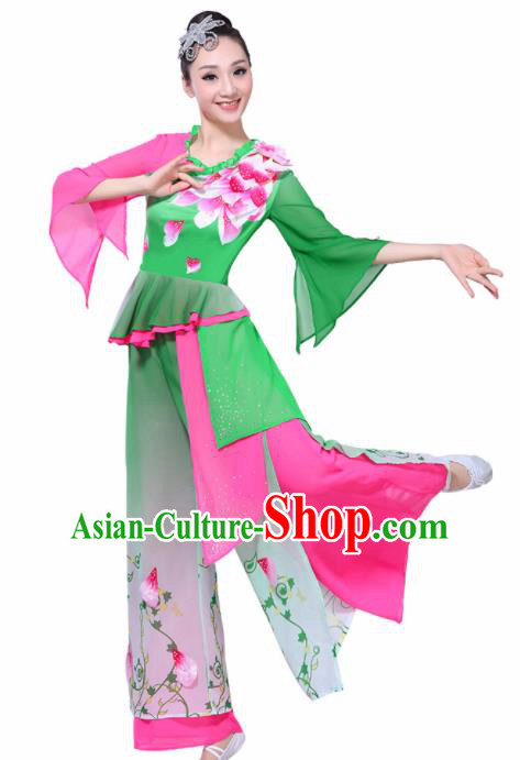 Chinese Traditional Fan Dance Stage Performance Green Costume Folk Dance Yangko Dance Dress for Women