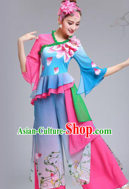 Chinese Traditional Fan Dance Stage Performance Blue Costume Folk Dance Yangko Dance Dress for Women