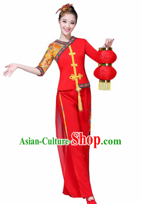Chinese Traditional Fan Dance Stage Performance Red Costume Folk Dance Yangko Dance Dress for Women