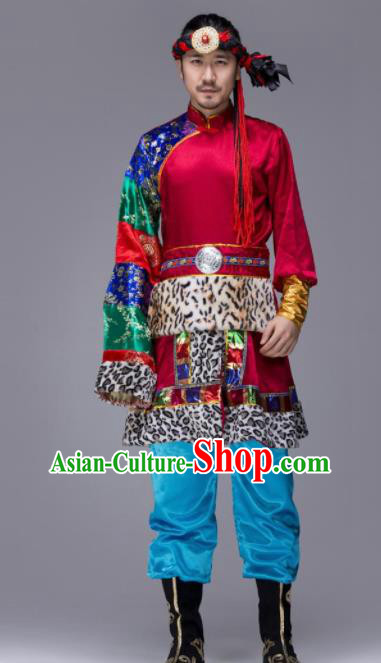 Chinese Traditional Tibetan Ethnic Folk Dance Costume Zang Nationality Dance Wine Red Clothing for Men
