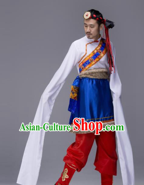 Chinese Traditional Tibetan Ethnic Water Sleeve Costume Zang Nationality Folk Dance Clothing for Men