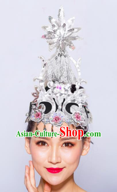 Chinese Traditional Folk Dance Hair Accessories Stage Performance Yangko Dance Argent Flowers Headwear for Women
