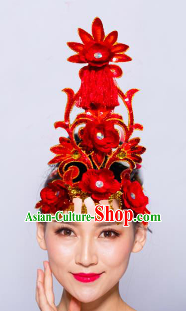 Chinese Traditional Folk Dance Hair Accessories Stage Performance Yangko Dance Red Flowers Headwear for Women