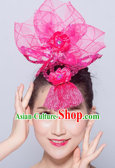 Chinese Traditional Folk Dance Hair Accessories Stage Performance Yangko Dance Rosy Veil Headwear for Women