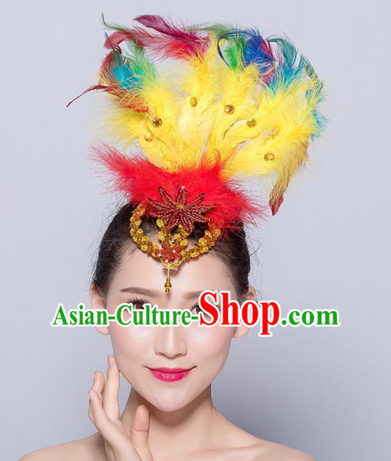 Chinese Traditional National Folk Dance Yellow Feather Hair Stick Yangko Dance Hair Accessories for Women