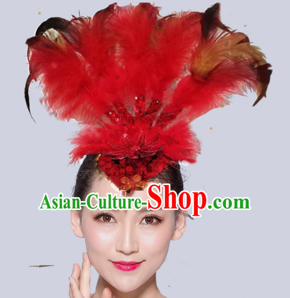 Chinese Traditional National Folk Dance Red Feather Hair Stick Yangko Dance Hair Accessories for Women
