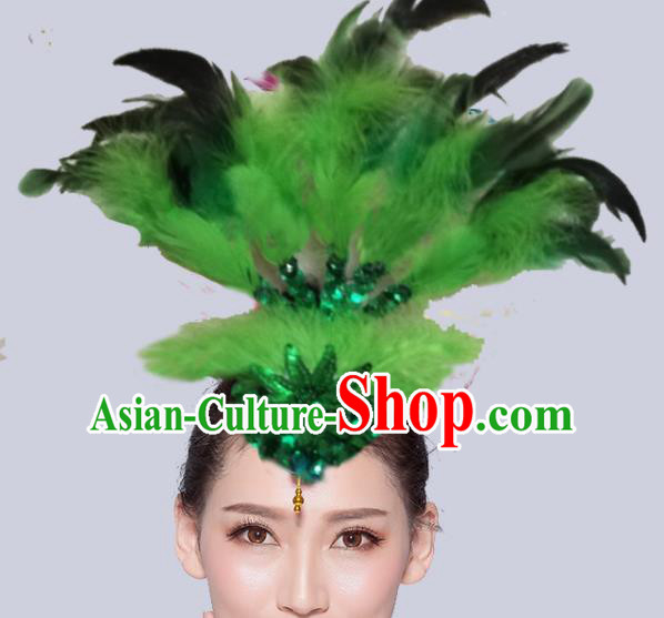 Chinese Traditional National Folk Dance Green Feather Hair Stick Yangko Dance Hair Accessories for Women
