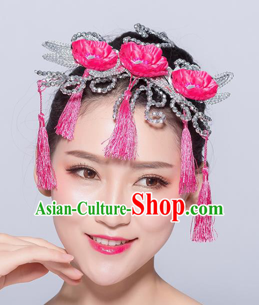 Chinese Traditional Yangko Dance Rosy Flowers Tassel Hair Stick National Folk Dance Hair Accessories for Women