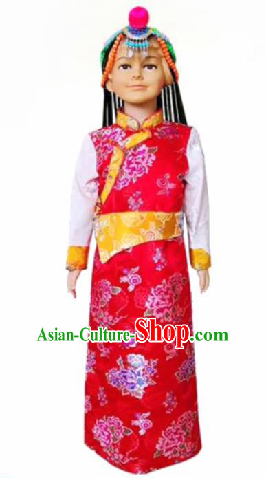 Chinese Traditional Tibetan Girls Kham Red Dress Zang Nationality Heishui Dance Ethnic Costumes for Kids
