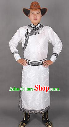 Chinese Traditional Mongol Ethnic Costume Nationality White Brocade Mongolian Robe for Men