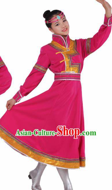 Chinese Traditional Mongolian Ethnic Rosy Dress Mongol Nationality Folk Dance Costumes for Women