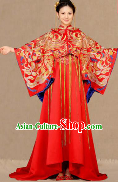 Traditional Chinese Embroidered Phoenix Trailing Wedding Dress Ancient Bride Red Xiu He Costume for Women