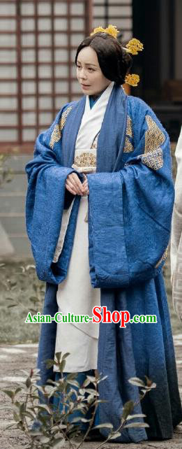 Chinese The Lengend of Haolan Ancient Warring States Period Dowager Historical Costume and Headpiece for Women