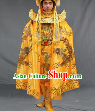Chinese Traditional Sichuan Opera Embroidered Yellow Costume Face Changing Clothing Complete Set for Men