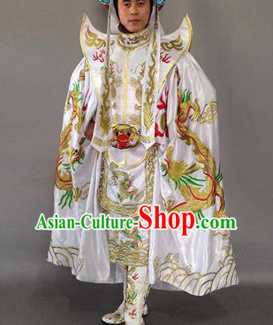 Chinese Traditional Sichuan Opera Embroidered Costume Face Changing White Cloak and Clothing Complete Set for Men