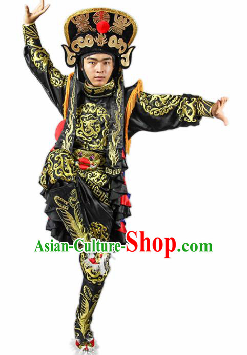 Chinese Traditional Sichuan Opera Black Costume Face Changing Clothing Complete Set for Men