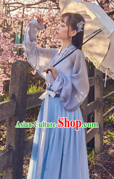 Chinese Traditional Blue Hanfu Dress Ancient Tang Dynasty Court Princess Embroidered Costume for Women