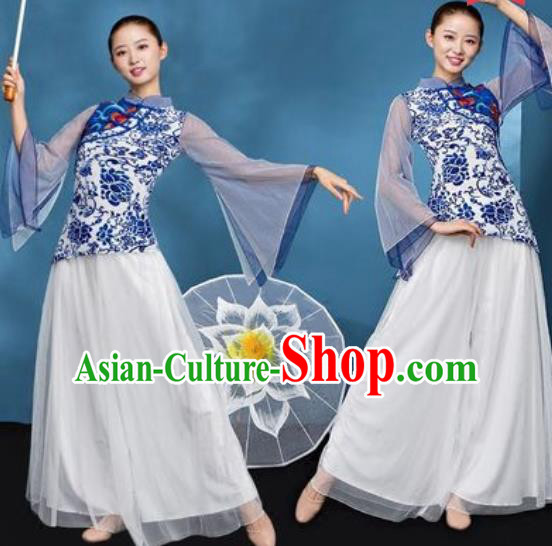 Chinese National Folk Dance Printing Blue Peony Costume Traditional Yangko Dance Fan Dance Clothing for Women