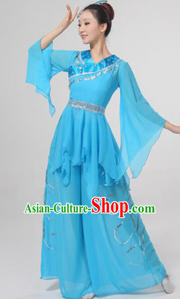 Chinese National Folk Dance Costume Traditional Yangko Dance Fan Dance Blue Clothing for Women