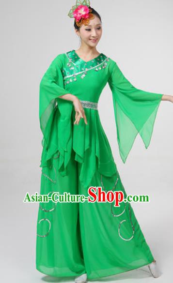 Chinese National Folk Dance Costume Traditional Yangko Dance Fan Dance Green Clothing for Women